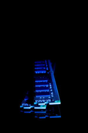 ddr3: Electronic collection - computer random access memory (RAM) modules on the black background toned blue