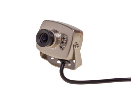 night vision: Internal security surveillance camera with night vision LED backlight isolated on white background