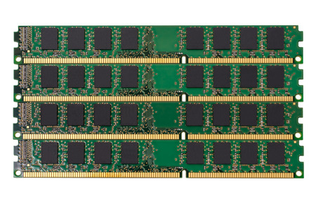Electronic collection - computer random access memory (RAM) modules isolated on the white background Stock Photo
