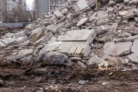 urban environments: Demolition of buildings in urban environments. House in ruins.