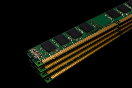 Electronic collection - computer random access memory (RAM) modules on the black background