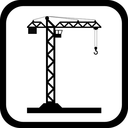 hook up: Black tower crane on white in black frame with rounded corners - Vector icon isolated