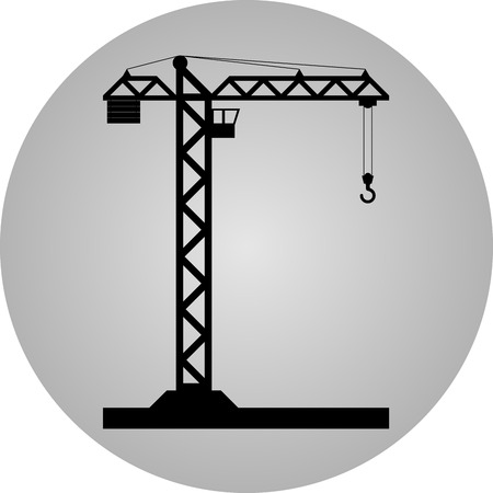 tower crane: Black tower crane on a gray circle - Vector icon isolated