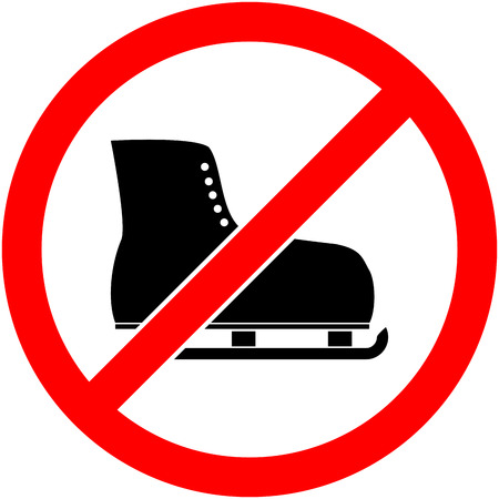 iceskating: No ice skate, ice-skate, ice-skating and skating prohibited symbol. Sign indicating the prohibition or rule. Warning and forbidden. Flat design. Vector illustration. Easy to use and edit. .