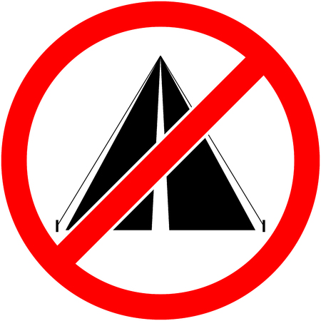 prohibiting: No bivouac, camping, tent and camp prohibited symbol. Sign indicating the prohibition or rule. Warning and forbidden. Flat design. Vector illustration. Easy to use and edit. .