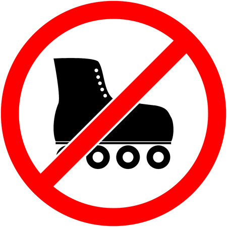 forewarn: No skate, rollerskate, roller-skates and skating prohibited symbol. Sign indicating the prohibition or rule. Warning and forbidden. Flat design. Vector illustration. Easy to use and edit. .