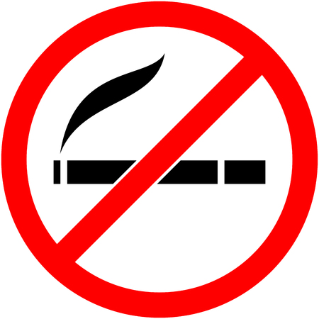 cigar label: No smoking, cigarette, smoke and cigar prohibited symbol. Sign indicating the prohibition or rule. Warning and forbidden. Flat design. Vector illustration. Easy to use and edit. .