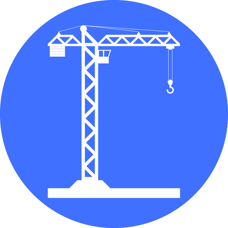 pulley: Building Tower crane icon - vector, flat design.