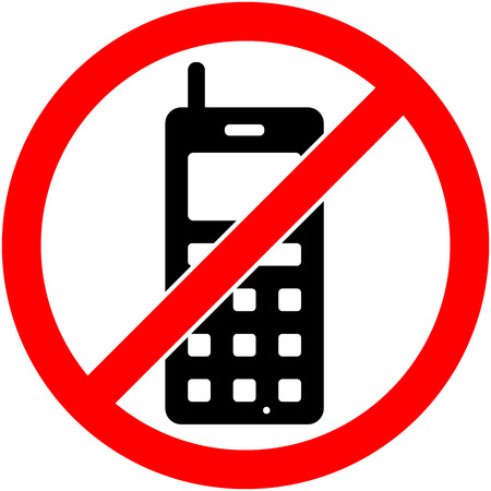 prohibited symbol: No phone, telephone, cellphone and smartphone prohibited symbol. Sign indicating the prohibition or rule. Warning and forbidden. Flat design. Vector illustration. Easy to use and edit. .