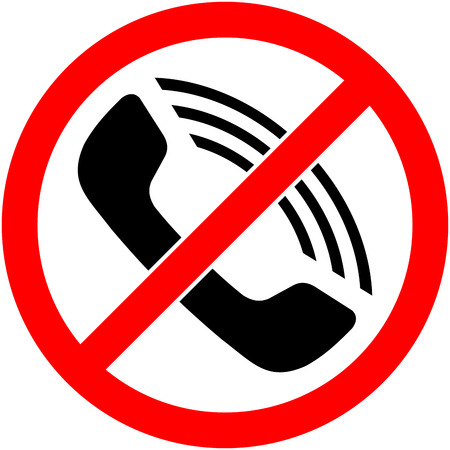 No phone, telephone, cellphone and smartphone prohibited symbol. Sign indicating the prohibition or rule. Warning and forbidden. Flat design. Vector illustration. Easy to use and edit. .