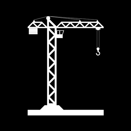 Building Tower crane icon - vector, flat design.