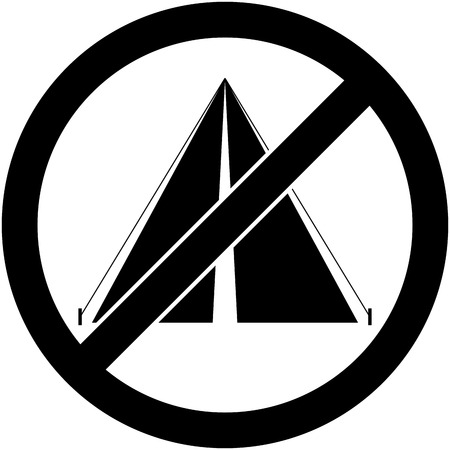 prohibited symbol: No bivouac, camping, tent and camp prohibited symbol.