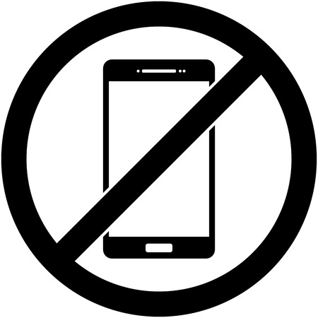 no cell phone sign: No phone, telephone, cellphone and smartphone prohibited symbol.