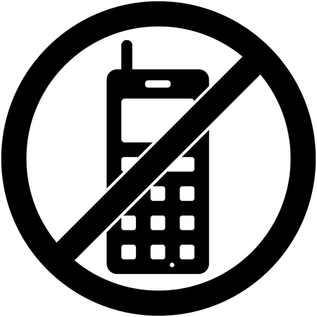 prohibited symbol: No phone, telephone, cellphone and smartphone prohibited symbol.