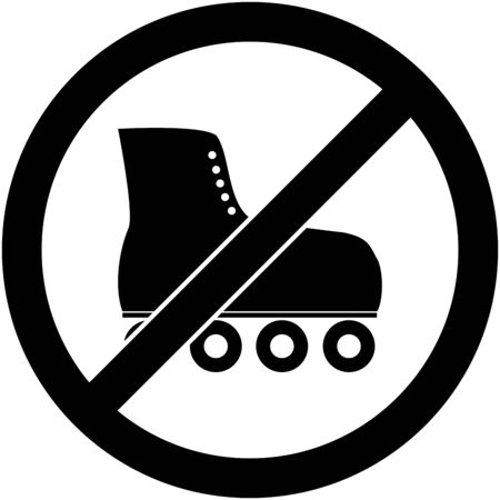 rollerskates: No skate, roller skate, roller-skates and skating prohibited symbol.