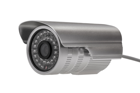 night vision: External security surveillance camera with night vision LED backlight isolated on white background