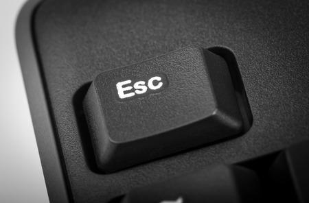 esc: Electronic collection - detail black computer keyboard. The focus on Esc key.