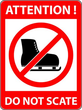 アイス スケートはスケートも、アイス スケート、スケート禁止記号。禁止または規則の標識です。警告と禁止。フラットなデザイン。ベクトルの図