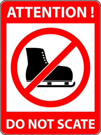 iceskating: No ice skate, ice-skate, ice-skating and skating prohibited symbol. Sign indicating the prohibition or rule. Warning and forbidden. Flat design. Vector illustration. Easy to use and edit.