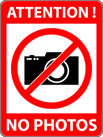 prohibited symbol: No photography, camera prohibited symbol. Sign indicating the prohibition or rule. Warning and forbidden. Flat design. Vector illustration. Easy to use and edit.