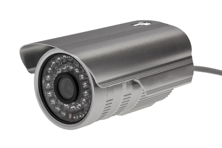 nightvision: External security surveillance camera with night vision LED backlight isolated on white background