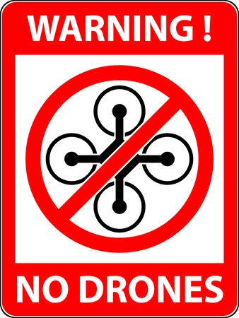 prohibited symbol: No drone, multicopter prohibited symbol. Not fly zone. Sign indicating the prohibition or rule. Warning and forbidden. Flat design.