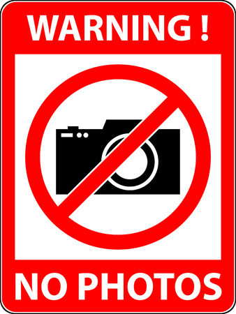 prohibited symbol: No photography, camera prohibited symbol. Sign indicating the prohibition or rule. Warning and forbidden. Flat design. Vector illustration.