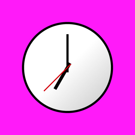 analog dial: Clock icon, Vector illustration, flat design. Easy to use and edit. EPS10. Pink background.