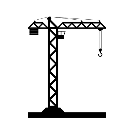 lifter: Building Tower crane icon - vector, flat design. Eps 10.