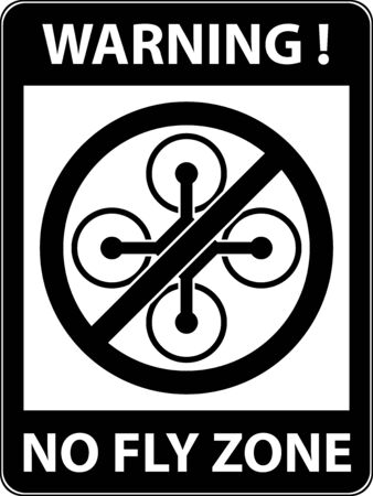 prohibited symbol: No drone, multicopter prohibited symbol. Not fly zone. Sign indicating the prohibition or rule. Warning and forbidden. Flat design. Vector illustration. Easy to use and edit. EPS10.