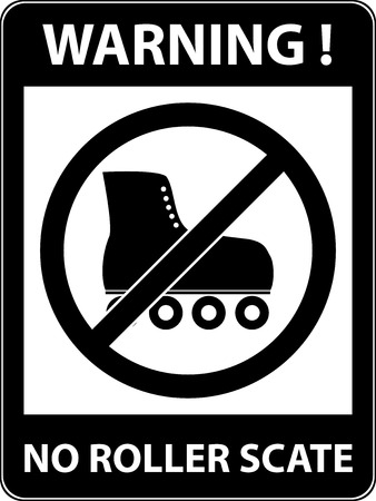 rollerskates: No skate, rollerskate, roller-skates and skating prohibited symbol. Sign indicating the prohibition or rule. Warning and forbidden. Flat design. Vector illustration. Easy to use and edit. EPS10. Illustration