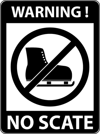 iceskating: No ice skate, ice-skate, ice-skating and skating prohibited symbol. Sign indicating the prohibition or rule. Warning and forbidden. Flat design. Vector illustration. Easy to use and edit. EPS10. Illustration