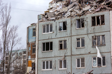 deconstruction: In this house there was a gas explosion in one of the apartments has led to the destruction of the house.