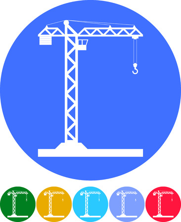 tower crane: Building Tower crane icon - vector, flat design. Eps 10.