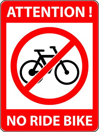 rule: No bicycle, bike prohibited symbol. Sign indicating the prohibition or rule. Warning and forbidden. Flat design.