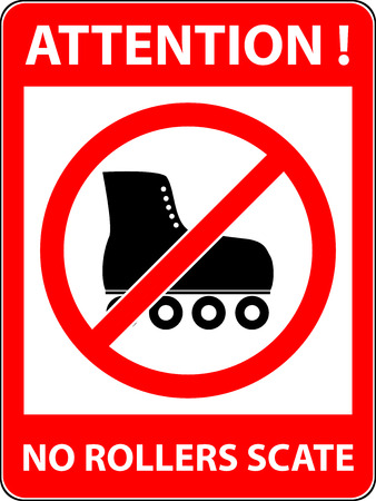 rollerskates: No skate, rollerskate, roller-skates and skating prohibited symbol. Sign indicating the prohibition or rule. Warning and forbidden. Flat design.