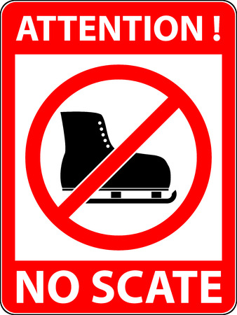 restrictive: No ice skate, ice-skate, ice-skating and skating prohibited symbol. Sign indicating the prohibition or rule. Warning and forbidden. Flat design. Illustration