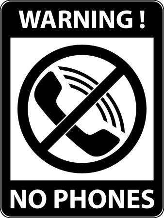 rule: No phone, telephone, cellphone and smartphone prohibited symbol. Sign indicating the prohibition or rule. Warning and forbidden. Flat design.