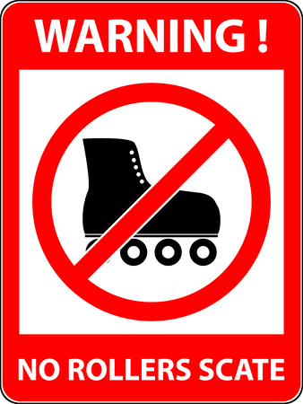 rollerskate: No skate, rollerskate, roller-skates and skating prohibited symbol. Sign indicating the prohibition or rule. Warning and forbidden. Flat design.
