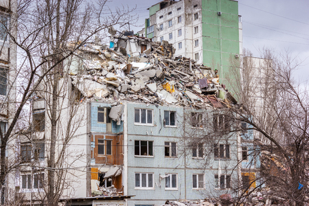 bombing: Demolition of buildings in urban environments. House in ruins.