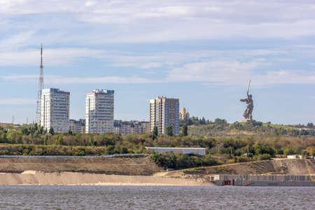 volgograd: Volga riverbank with a view of monument - The Motherland calls. Volgograd. Russia. Stock Photo