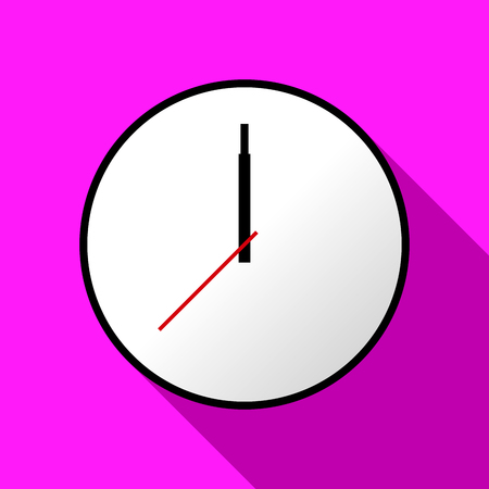 pink and black: Clock icon Vector illustration flat design. Easy to use and edit. EPS10. Pink background with shadow.