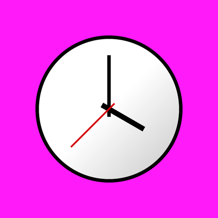 pink and black: Clock icon Vector illustration flat design. Easy to use and edit. EPS10. Pink background. Illustration