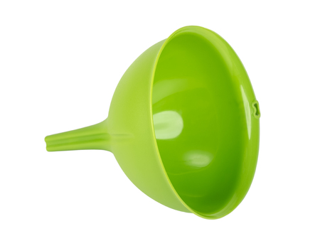 Green plastic kitchen funnel isolated on white background