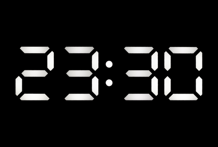 Real white led digital clock on a black background showing time 23:30