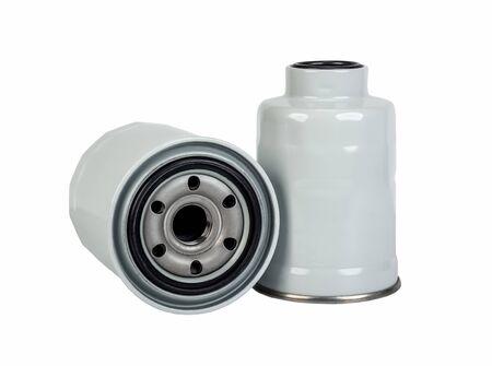 Filtro de coche de aceite y combustible aislado sobre fondo blanco. Foto de archivo
