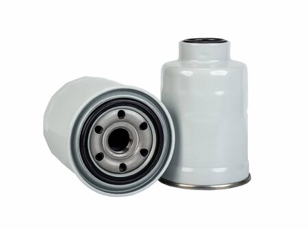 Oil and fuel car filter isolated on white background Stock fotó