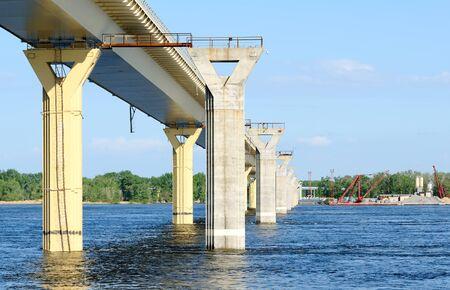 Construction of a new bridge over the river Volga, Russia Stock Photo