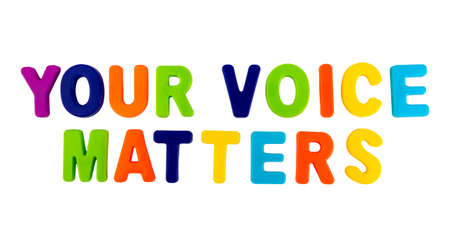 Text YOUR VOICE MATTERS written in plastic letters on a white background. Concept for the electoral campaign. Stock Photo