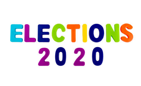 Text ELECTIONS 2020 written in plastic letters on a white background. Concept for the electoral campaign.